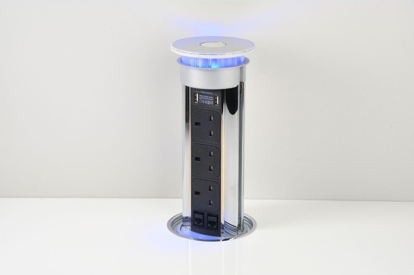Pop Up Socket 3 Power 2 Data USB LED Bright Chrome On