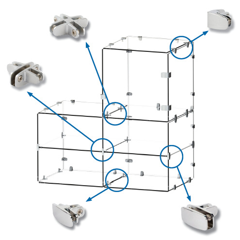 Glass clamps. Multi fitting